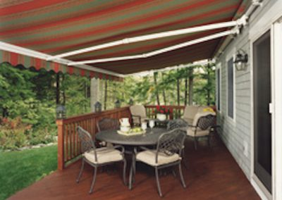 Striped retractable awning by A Shade Beyond in Prescott AZ
