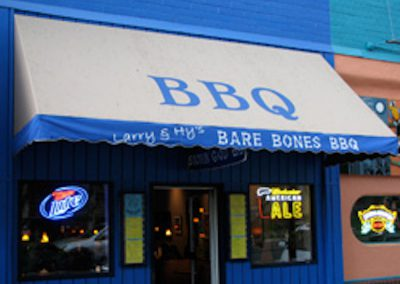 Blue BBQ awning with print - A Shade Beyond
