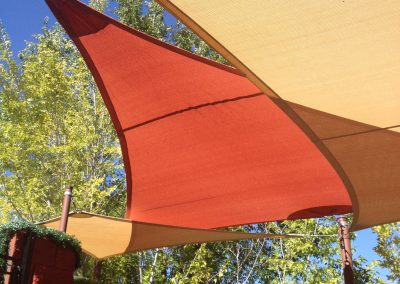 An example of a shade sail for a residence